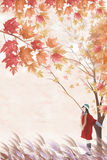 Woman under the tree and travel in late fall - Graphic painting texture Stock Photography