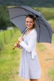 Woman under umbrella Stock Photography