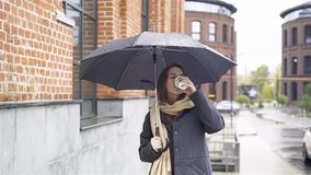 Woman under umbrella drinking coffee. Attractive young woman wearing a gray coat is standing under an umbrella and drinking coffee. Handheld slow motion medium stock video footage
