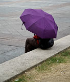 Woman Under Umbrella Stock Images