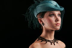 Woman under the veil. Girl in hat under the veil Royalty Free Stock Image