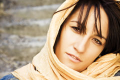 Woman under veil. Young woman wearing muslim veil Stock Photos