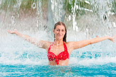 Woman under water gadget in swimming pool Royalty Free Stock Photography