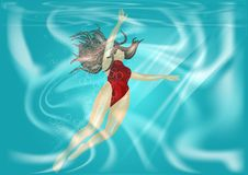 Woman under water Stock Photography