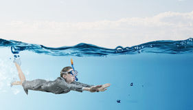Woman under water Stock Photo