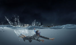 Woman under water Royalty Free Stock Photo