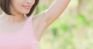 Woman with underarm hair removal Stock Photography