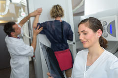 Woman undergoing mammography test in hospital Royalty Free Stock Images