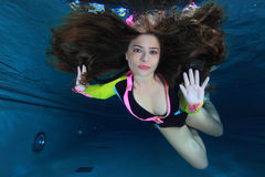 Woman underwater Stock Photo