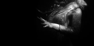 Woman underwater in black and white Stock Photos