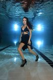 Woman underwater with high heels Royalty Free Stock Photos