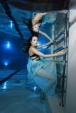 Woman underwater with high heels Royalty Free Stock Image