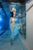 Woman underwater with high heels Royalty Free Stock Photo