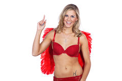 Woman with underwear and angel wings Stock Image