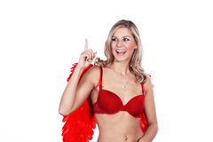 Woman with underwear and angel wings Royalty Free Stock Photography