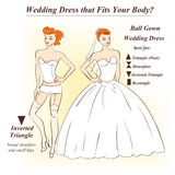 Woman in underwear and Ball Gown wedding dress. Infographic of Ball Gown wedding dress that fits for female body shape types. Illustration of woman in underwear Royalty Free Stock Photos