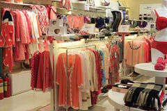 Woman underwear clothes and pajamas shop Stock Images