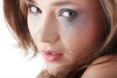 Woman in underwear crying - violence concept Royalty Free Stock Photo