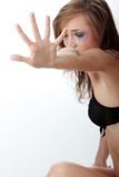 Woman in underwear crying - violence concept Stock Photo