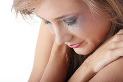 Woman in underwear crying - violence concept Royalty Free Stock Images