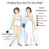 Woman in underwear and Empire wedding dress. Infographic of Empire wedding dress that fits for female body shape types. Illustration of woman in underwear and Stock Photography