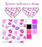 Woman underwear fashion sketch. Woman underwear with romantic print fashion sketch Stock Images
