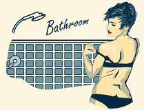 Woman undressed in the bathroom. Retro-styled vector image. Stock Photos