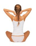 Woman in undrewear practicing yoga lotus pose Stock Image