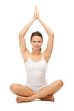 Woman in undrewear practicing yoga lotus pose Royalty Free Stock Photos
