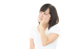 Woman with an uneasy look Royalty Free Stock Images