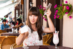Woman unhappy amount of the invoice Royalty Free Stock Photo
