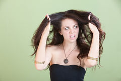 Woman Unhappy With Bad Hair Stock Image