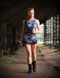 Woman in uniform with binoculars (normal version) Stock Photo