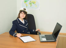 Woman in uniform of sea captain Royalty Free Stock Photos