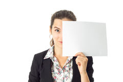 Woman in uniform with white placard in hands Royalty Free Stock Photo