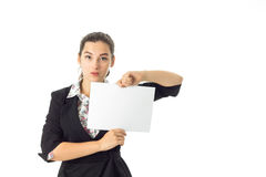 Woman in uniform with white placard in hands Stock Photo