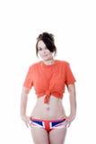 Woman in union jack underwear Stock Photo