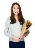 Woman university with folder Royalty Free Stock Image