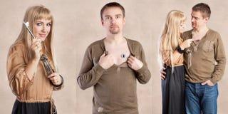 Woman unlocking man's heart Stock Photo