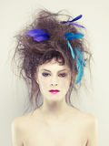 Woman with an unusual hairstyle Stock Photos