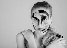 A woman with unusual make-up Royalty Free Stock Photography