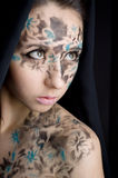 Woman with unusual make up. Closeup portrait of sexy woman with unusual make up for desire concept Stock Images