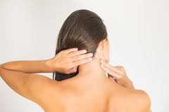 Woman with upper back and neck pain Royalty Free Stock Images