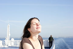 Woman on upper deck royalty free stock photo