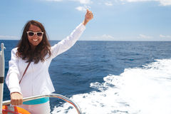 Woman on the upper deck of a cruise ship Royalty Free Stock Images