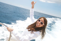 Woman on the upper deck of a cruise ship Stock Photos
