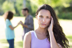 Woman upset at her crush with other girl Royalty Free Stock Photos