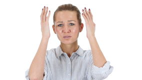 Woman Upset by Loss, , White Background stock video