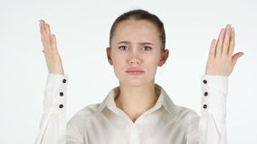 Woman upset by loss, white background stock footage