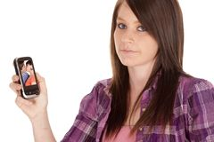 Woman upset picture phone Royalty Free Stock Photo